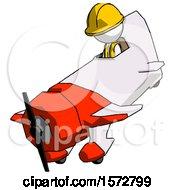 White Construction Worker Contractor Man In Geebee Stunt Plane Descending View