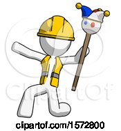 White Construction Worker Contractor Man Holding Jester Staff Posing Charismatically