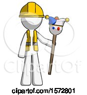 White Construction Worker Contractor Man Holding Jester Staff