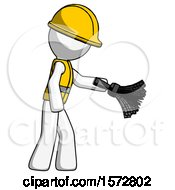 White Construction Worker Contractor Man Dusting With Feather Duster Downwards