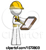 White Construction Worker Contractor Man Using Clipboard And Pencil