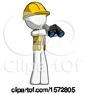 White Construction Worker Contractor Man Holding Binoculars Ready To Look Right