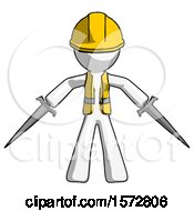 White Construction Worker Contractor Man Two Sword Defense Pose