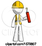 White Construction Worker Contractor Man Holding Dynamite With Fuse Lit