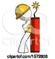 White Construction Worker Contractor Man Leaning Against Dynimate Large Stick Ready To Blow
