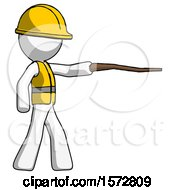 White Construction Worker Contractor Man Pointing With Hiking Stick