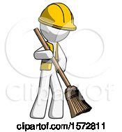 White Construction Worker Contractor Man Sweeping Area With Broom