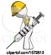 White Construction Worker Contractor Man Using Syringe Giving Injection