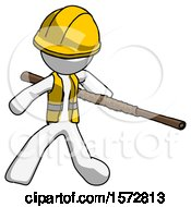 White Construction Worker Contractor Man Bo Staff Action Hero Kung Fu Pose