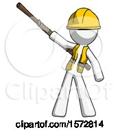 White Construction Worker Contractor Man Bo Staff Pointing Up Pose