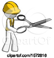 White Construction Worker Contractor Man Holding Giant Scissors Cutting Out Something