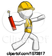 White Construction Worker Contractor Man Throwing Dynamite