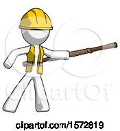 White Construction Worker Contractor Man Bo Staff Pointing Right Kung Fu Pose