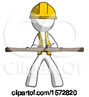 White Construction Worker Contractor Man Bo Staff Kung Fu Defense Pose