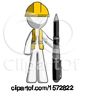 White Construction Worker Contractor Man Holding Large Pen