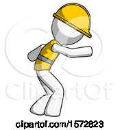 White Construction Worker Contractor Man Sneaking While Reaching For Something