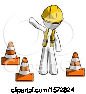 White Construction Worker Contractor Man Standing By Traffic Cones Waving