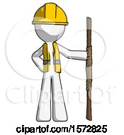 White Construction Worker Contractor Man Holding Staff Or Bo Staff
