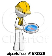 White Construction Worker Contractor Man Looking At Large Compass Facing Right