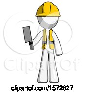 White Construction Worker Contractor Man Holding Meat Cleaver