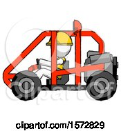 White Construction Worker Contractor Man Riding Sports Buggy Side View