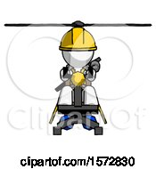 White Construction Worker Contractor Man Flying In Gyrocopter Front View