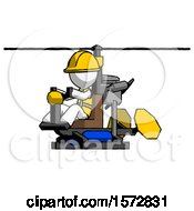 White Construction Worker Contractor Man Flying In Gyrocopter Front Side Angle View