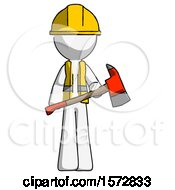 White Construction Worker Contractor Man Holding Red Fire Fighters Ax