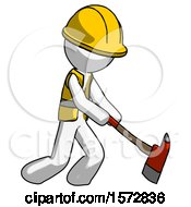 White Construction Worker Contractor Man Striking With A Red Firefighters Ax