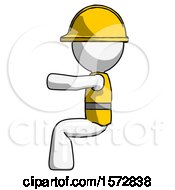 White Construction Worker Contractor Man Sitting Or Driving Position