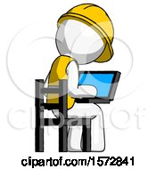 White Construction Worker Contractor Man Using Laptop Computer While Sitting In Chair View From Back