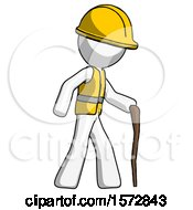 White Construction Worker Contractor Man Walking With Hiking Stick
