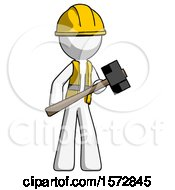 White Construction Worker Contractor Man With Sledgehammer Standing Ready To Work Or Defend