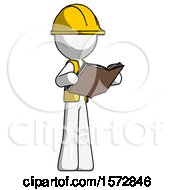 White Construction Worker Contractor Man Reading Book While Standing Up Facing Away