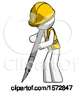 White Construction Worker Contractor Man Cutting With Large Scalpel
