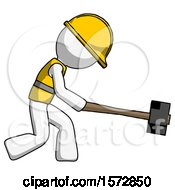 White Construction Worker Contractor Man Hitting With Sledgehammer Or Smashing Something