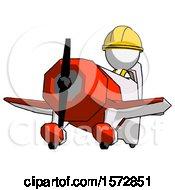 White Construction Worker Contractor Man Flying In Geebee Stunt Plane Viewed From Below