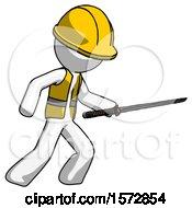 White Construction Worker Contractor Man Stabbing With Ninja Sword Katana