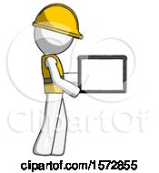 White Construction Worker Contractor Man Show Tablet Device Computer To Viewer Blank Area