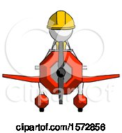 White Construction Worker Contractor Man In Geebee Stunt Plane Front View