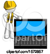 White Construction Worker Contractor Man Beside Large Laptop Computer Leaning Against It