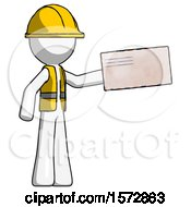 White Construction Worker Contractor Man Holding Large Envelope
