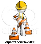 White Construction Worker Contractor Man Holding A Traffic Cone