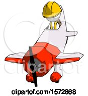 White Construction Worker Contractor Man In Geebee Stunt Plane Descending Front Angle View