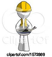 White Construction Worker Contractor Man Serving Or Presenting Noodles