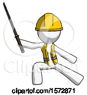 White Construction Worker Contractor Man With Ninja Sword Katana In Defense Pose