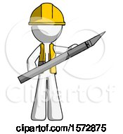 White Construction Worker Contractor Man Holding Large Scalpel