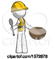 White Construction Worker Contractor Man With Empty Bowl And Spoon Ready To Make Something