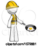 White Construction Worker Contractor Man Frying Egg In Pan Or Wok Facing Right