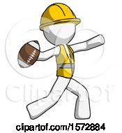 White Construction Worker Contractor Man Throwing Football